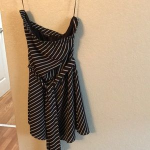 Striped black strapless summer dress